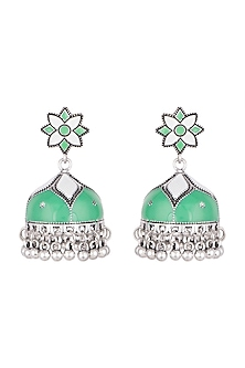 Silver Plated Meenakari Jhumka Earrings by Zerokaata