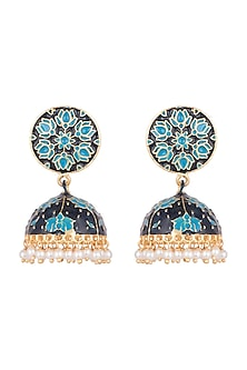 Gold Plated Blue Lotus Meenakari Jhumka Earrings by Zerokaata