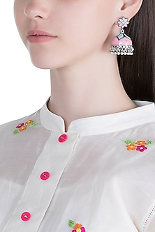 Silver Plated Pink & Green Meenakari Jhumka Earrings by Zerokaata