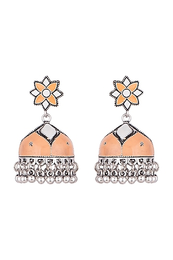 Silver Plated Orange & White Meenakari Jhumka Earrings by Zerokaata