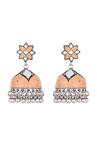 Silver Plated Orange & White Meenakari Jhumka Earrings by Zerokaata