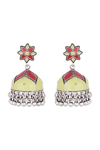 Silver Plated Sea Green & Red Meenakari Jhumka Earrings by Zerokaata