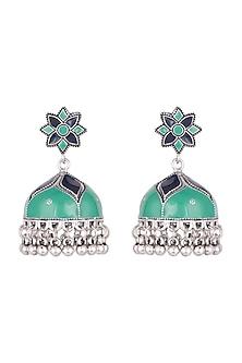 Silver Plated Green & Blue Meenakari Jhumka Earrings by Zerokaata