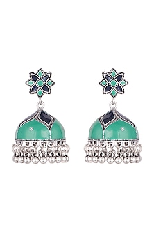 Silver Plated Green & Blue Meenakari Jhumka Earrings by Zerokaata