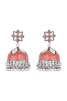 Silver Plated Peach & Red Meenakari Jhumka Earrings by Zerokaata