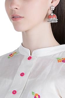 Silver Plated Peach & Red Meenakari Jhumka Earrings by Zerokaata