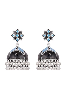 Silver Plated Black & Blue Meenakari Jhumka Earrings by Zerokaata