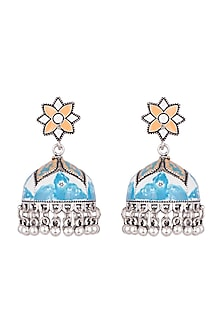 Silver Plated Patterned Meenakari Jhumka Earrings by Zerokaata