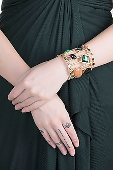 Gold Plated Black Amethyst & Malachite Cuff by Zerokaata
