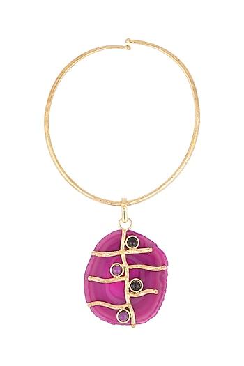 Gold Plated Purple Onyx Choker Necklace by Zerokaata