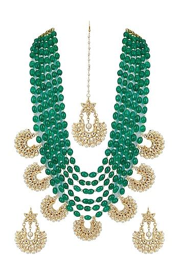 Gold Finish Beaded Layered Necklace Set by Zerokaata