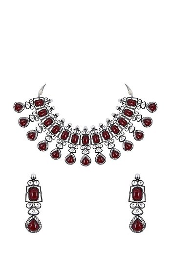 White Finish Maroon Gemstone Necklace Set by Zerokaata