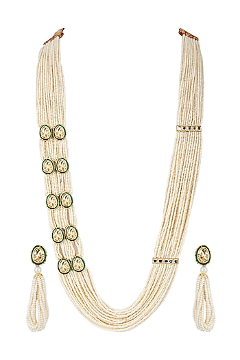 Gold Finish Layered Pearl Necklace Set by Zerokaata