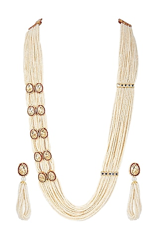 Gold Finish Layered Kundan Necklace Set by Zerokaata