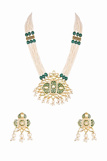 Gold Plated Kundan & Pearls Necklace Set by Zerokaata