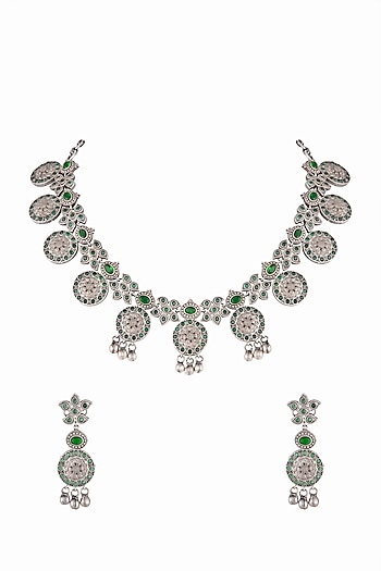 Silver Finish Floral Necklace Set by Zerokaata