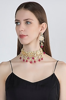 Gold Plated Kundan & Pearl Choker Necklace Set by Zerokaata