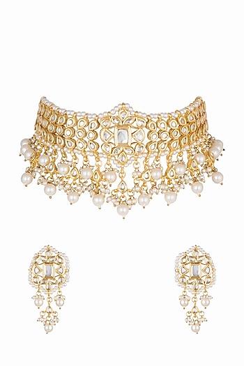 Gold Plated Pearls & Kundan Choker Necklace Set by Zerokaata