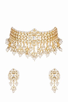 Gold Plated Pearls & Kundan Choker Necklace Set by Zerokaata