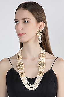 Gold Plated Pearl Necklace Set by Zerokaata