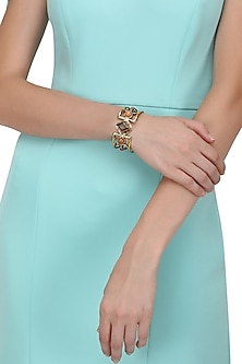 Gold Finish Multi Coloured Hand Cuff by Zerokaata