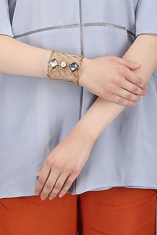 Gold Finish Rose Quartz and Blue Crystal Stone Hand Cuff by Zerokaata
