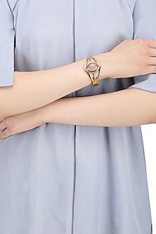 Gold Finish Hand Cuff with Semi Precious Stones by Zerokaata