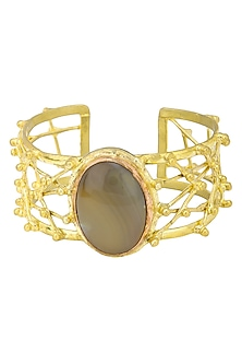Gold Finish Handcuff with Criss Cross Pattern and Semi Precious Stones by Zerokaata