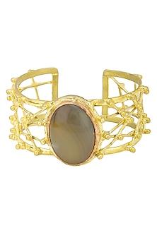 Gold Finish Handcuff with Criss Cross Pattern and Semi Precious Stones by Zerokaata