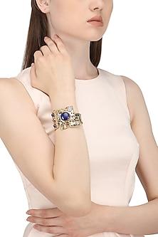 Gold Finish Semi Precious Stones Studded Bracelet by Zerokaata