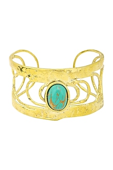 Gold Finish Bracelet Studded with Flake Turquoise Stone by Zerokaata