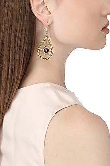 Gold Finish Purple Amethyst Stone Earrings by Zerokaata