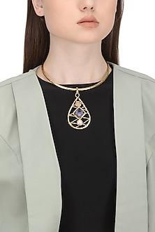 Gold Finish Rose Quartz Pearl Necklace by Zerokaata