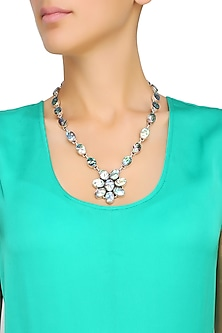 Silver Plated Oyster Green Crystals Necklace by Zerokaata