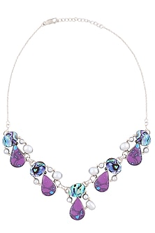 Silver Plated Blue, Purple And Pearl Crystal Water Droplets Necklace by Zerokaata