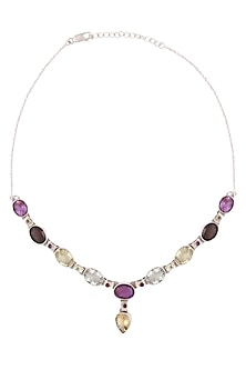 Silver Plated Green, Wine And Purple Crystal Necklace by Zerokaata