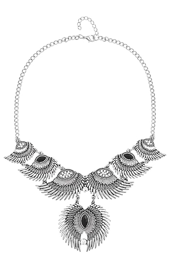 Oxidized Rhodium Plated Tribal Hawk Eye Necklace by Zerokaata