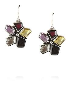 Sterling silver funky floral amethyst earrings by Zerokaata