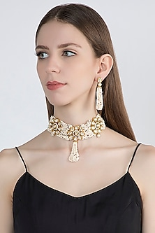 Gold Plated Pearl Choker Necklace Set by Zerokaata