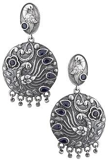 Silver plated blue stone earrings by ZEROKAATA