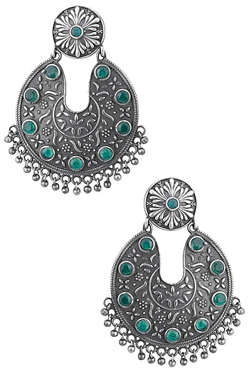 Silver plated floral green stone earrings by ZEROKAATA