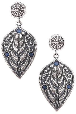 Silver pleated blue stone leaf earrings by ZEROKAATA