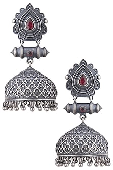 Silver plated black stone jhumki earrings by ZEROKAATA