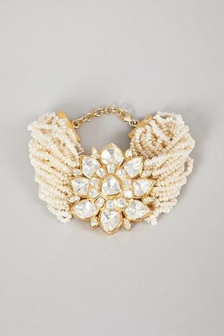 Gold Plated Handcrafted Polki Bracelet In Sterling Silver by Zeeya Luxury Jewellery