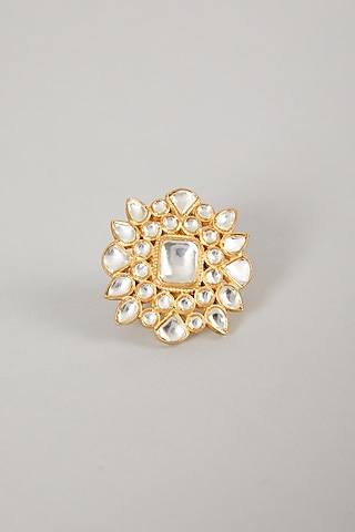 Gold Plated Handcrafted Polki Ring In Sterling Silver by Zeeya Luxury Jewellery