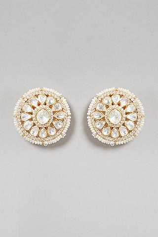 Gold Plated Handcrafted Polki Earrings In Sterling Silver by Zeeya Luxury Jewellery