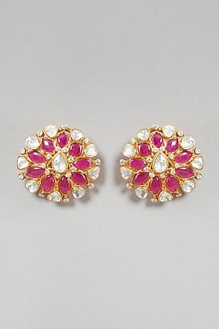 Gold Plated Handcrafted Earrings In Sterling Silver by Zeeya Luxury Jewellery