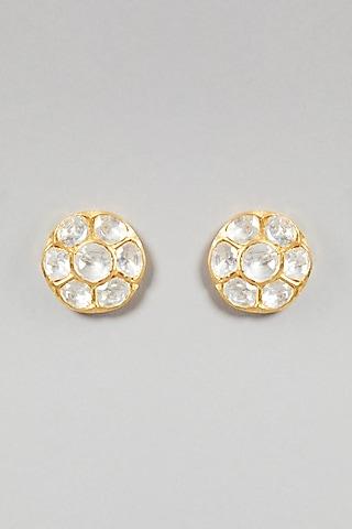 Gold Plated Polki Earrings In Sterling Silver by Zeeya Luxury Jewellery