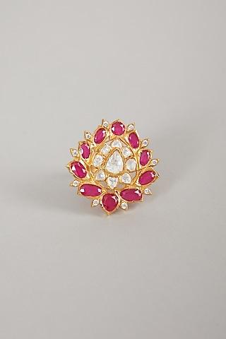 Gold Plated Polki Ring In Sterling Silver by Zeeya Luxury Jewellery
