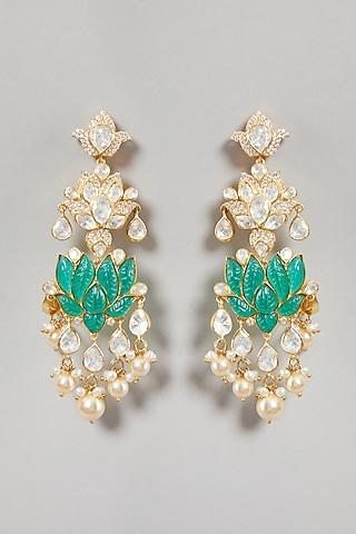 Gold Plated Semi-Precious Stone Earrings In Sterling Silver by Zeeya Luxury Jewellery